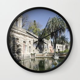 Royal Gardens Reflection - Alcazar of Seville Wall Clock