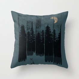 A Fox in the Wild Night... Throw Pillow