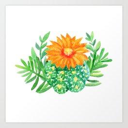 Watercolor cactus and leaves Art Print