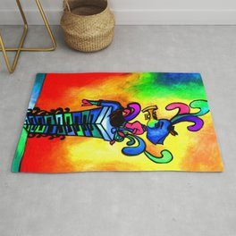 Musical elephant lady sitting on piano key post in rainbow heart Rug