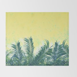 Palm leaves in the wind ( cream yellow ) Throw Blanket