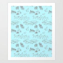 Arctic Wildlife Pattern (Light Blue and Brown) Art Print