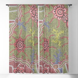 Aboriginal Art Authentic - Connections Sheer Curtain