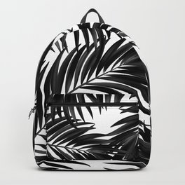 Palm Tree Fronds Black on White Maui Hawaii Tropical Graphic Design Backpack