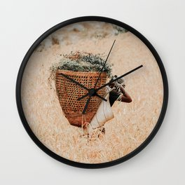 Working in the fields | Travel Photography | Nepal Photo | Working People Art Print Wall Clock