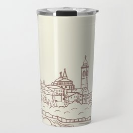 Hand drawn skyline of Citta Alta Bergamo, Italy Travel Mug