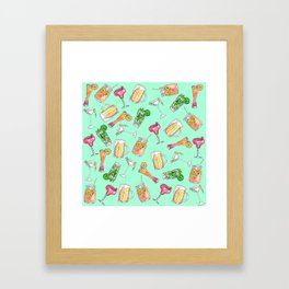 Fun Summer Watercolor Painted Mixed Drinks Pattern Framed Art Print