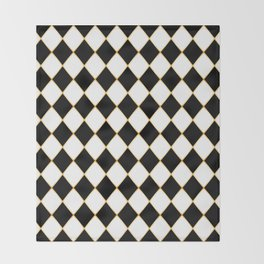 Chess board with golden threads Throw Blanket