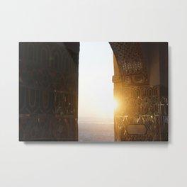 Sunset in Mandalay Temple   Myanmar Travel Photography Metal Print