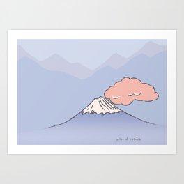 Mountain and cloud Art Print