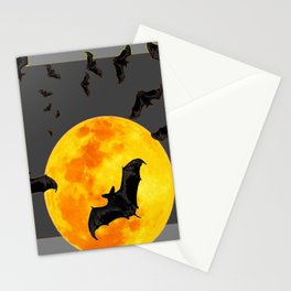 GREY HALLOWEEN BAT MIGRATION TO  MOON ART Stationery Cards