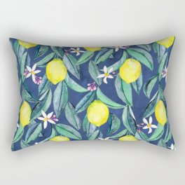When Life Gives You Lemons - blue Rectangular Pillow