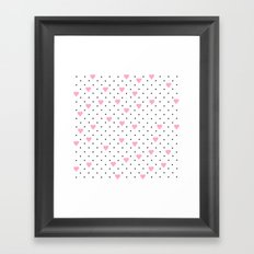 Pin Point Hearts Pink Framed Art Print