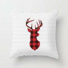 Plaid Deer Head on Minimal Stripes Throw Pillow