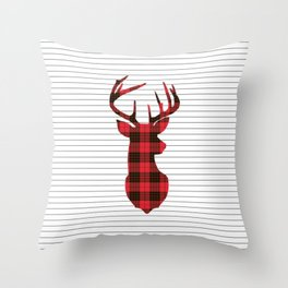 Plaid Deer Head on Minimal Stripes Throw Pillow