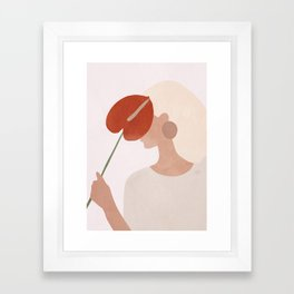 Lady with a Red Leaf Framed Art Print