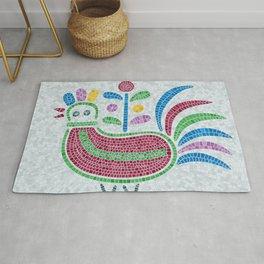 Mosaic tiles decorative pigeon Rug