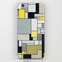 Random Concrete Pattern - Yellow, Blue, Grey iPhone Skin