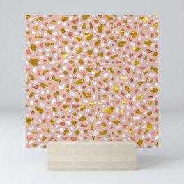 Terrazzo Golden Rose Mini Art Print