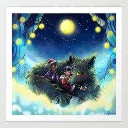 Snowy Wolf Art Print
