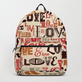 Love. Valentines Day typography pattern Backpack