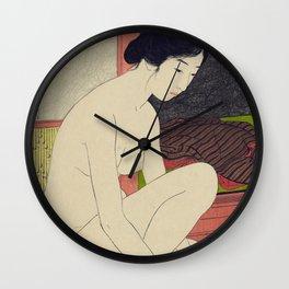 Woman after a bath by Goyo Hashinguchi, 1915 Wall Clock