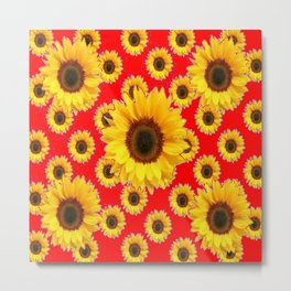Chinese RED Color Sunflower Patterns on Orange & Purple Color Metal Print