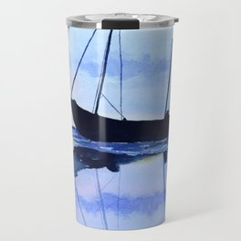 Single Boat Seascape Travel Mug