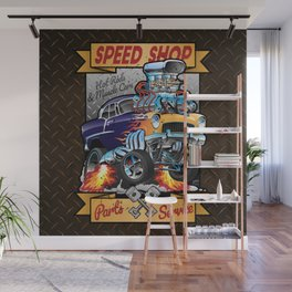Speed Shop Hot Rod Muscle Car Parts and Service Vintage Cartoon Illustration Wall Mural