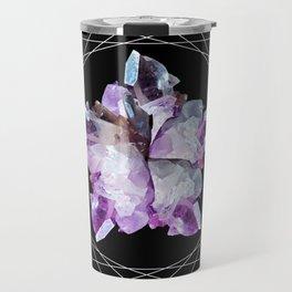Crystal Totem Line Work Occult Tattoo Style Illustration Travel Mug