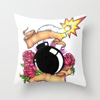 bombs away Throw Pillows featuring Bombs Away by 'Til Death Designs