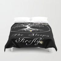 firefly Duvet Covers featuring Sleepy Firefly by Mike Clements