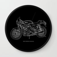 cafe racer Wall Clocks featuring NORTON COMMANDO 961 CAFE RACER. 2011 by Larsson Stevensem