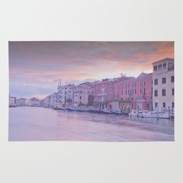 Venice in pastel, pink soft fluffy clouds over Venice, Italy Rug