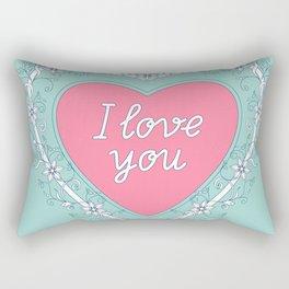 pink heart with love Rectangular Pillow