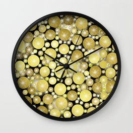 golden dots on black with little stars Wall Clock