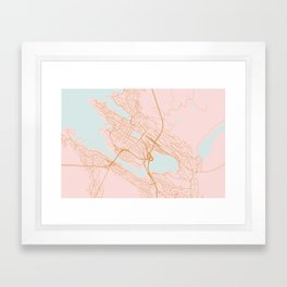 Bergen map, Norway Framed Art Print