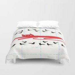 Cat Amongst The Pigeons Duvet Cover