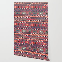 Southwestern Nomad I // 18th Century Colorful Red Blue Green Yellow Shapes and Bands Pattern Wallpaper