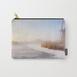 Dutch windmills in a foggy winter landscape in the morning Carry-All Pouch