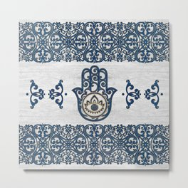 Hamsa Hand Hand of Fatima blue wood Metal Print