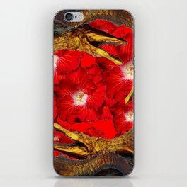 RED BLOODY HIBISCUS FLOWERS ALLIGATORS GOLD ART iPhone Skin