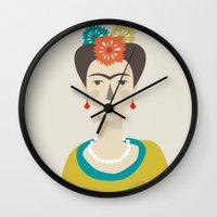 frida Wall Clocks featuring Frida by Judy Kaufmann