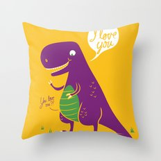 The Friendly T-Rex Throw Pillow