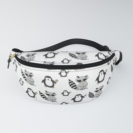 Penguins And Raccoons Fanny Pack