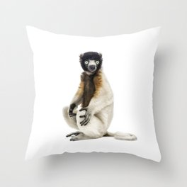 One year old Crowned Sifaka Throw Pillow