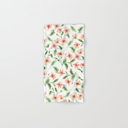Orange Watercolor Botanical Pattern Hand & Bath Towel