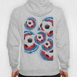 Football Ball and red, blue, white Strokes Hoody