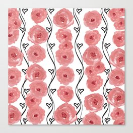 Pink Flowers with Black Hearts Canvas Print