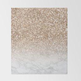 Pretty Gold Marble Sparkle Throw Blanket